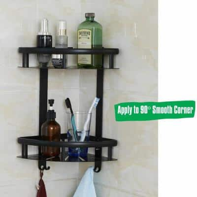 Aluminum Corner Shower Caddy with Wall Mount Adhesive Sticker Screws No Drill Install in Matte Black