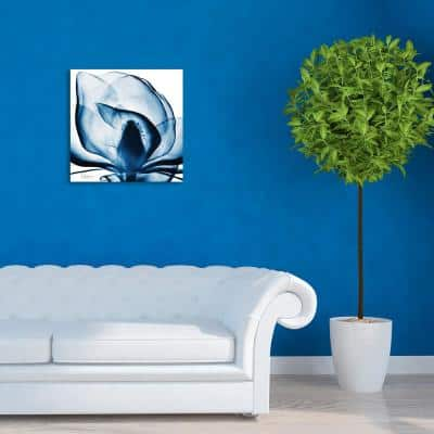 """""""Blue Magnolia X-Ray"""" Frameless Free Floating Tempered Glass Panel Graphic Wall Art"""