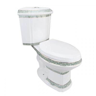Corner Elongated 2-Piece Dual Flush Bathroom Toilet India Reserve Design Green Gold Painted Manufacturing