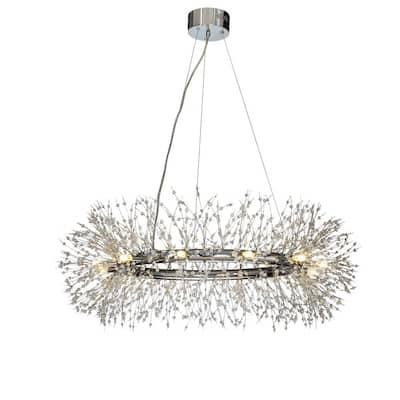 ALOA Decor 12-Light Chrome Round Crystal Donuts Chandelier Pendant Ceiling Lighting, Bulb Included