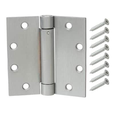 4-1/2 in. Square Satin Chrome Adjustable Spring Door Hinge