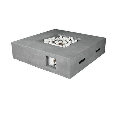 Brenta 42 in. W. x 12 in. H. Square Magnesium Oxide Gas Outdoor Firepit Table with Round Burner Kit in Light Grey
