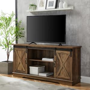 58 in. Rustic Oak Composite TV Stand 64 in. with Doors