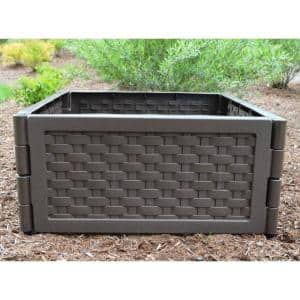 20 in. x 20 in. Brown Plastic Raised Garden Bed (6-Pack)