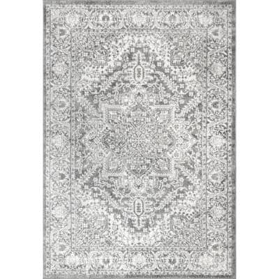 Modern Persian Light Grey 8 ft. x 10 ft. Distressed Area Rug