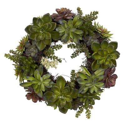 20 in. H Green Succulent Wreath