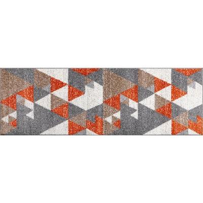 Emani Orange Geometric 2 ft. x 3 ft. Scatter Area Rug