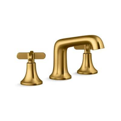 Setra 8 in. Widespread 2-Handle Bathroom Faucet in Vibrant Moderne Brushed Brass