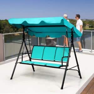 3-Person Polyester Patio Swing Canopy Yard Furniture with Green Cushions