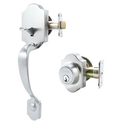 Single Cylinder Satin Nickel Door Handleset