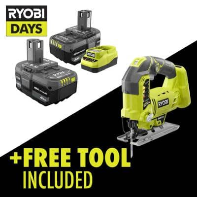 ONE+ 18V Lithium-Ion 4.0 Ah Compact Battery (2-Pack) and Charger Kit with Free Cordless Orbital Jig Saw