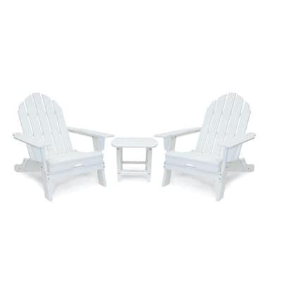 Balboa White Outdoor Patio Folding Plastic Adirondack Chair and Table Set