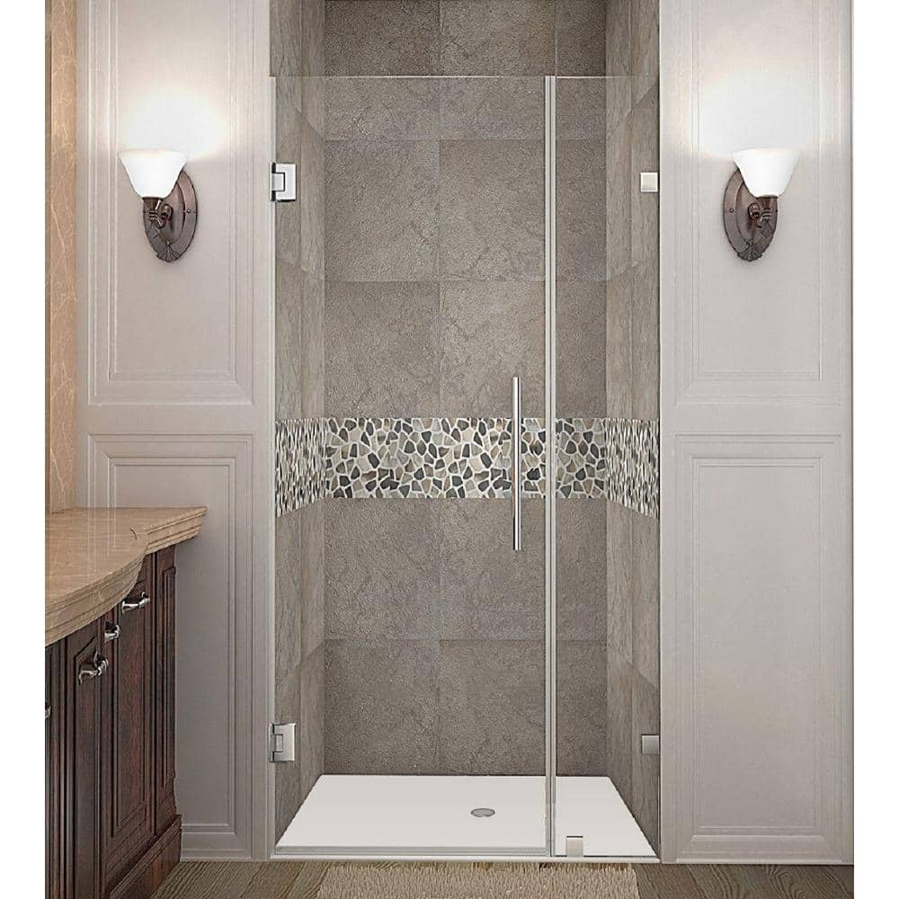 Aston Nautis 30 In X 72 In Frameless Hinged Shower Door In Chrome With Clear Glass Sdr985 Ch 30 10 The Home Depot