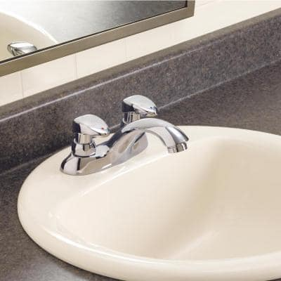 Commercial 4 in. Centerset 2-Handle Bathroom Faucet in Chrome with Vandal-Resistant Handle Actuator