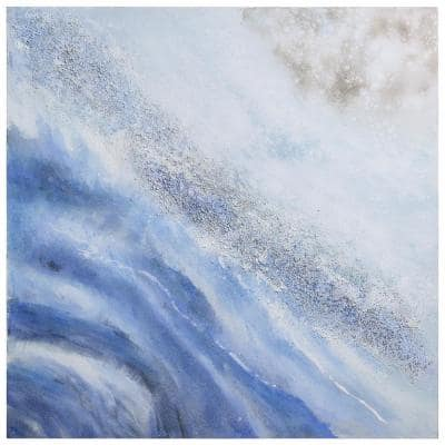 """Ocean Elixer"" by Martin Edwards Textured Metallic Abstract Hand Painted Wall Art 36 in. x 36 in."