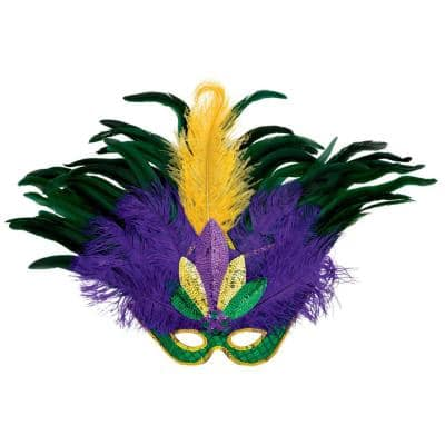 Green, Purple and Gold Feather, Sequin Mardi Gras Mask