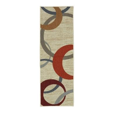 Picturale Cream 2 ft. x 5 ft. Machine Washable Geometric Transitional Runner Rug