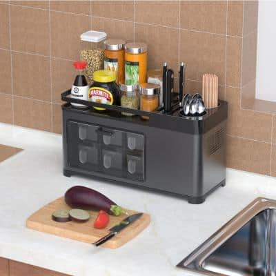 Black Stainless Steel Spice and Condiment Rack Utensil Holder Kitchen Organizer Drainboard Spices Rack and Knife Storage