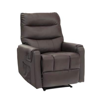 Comfortable Ergonomic Velvet Recliner Chair with Wireless Control 8-Points Massage and Heat System (Brown)