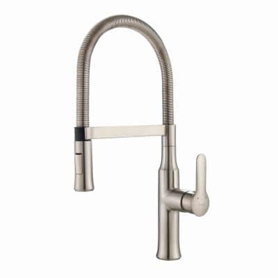 Nola Flex Commercial Style Single-Handle Pull-Down Sprayer Kitchen Faucet in Stainless Steel with Dual-Function Sprayer