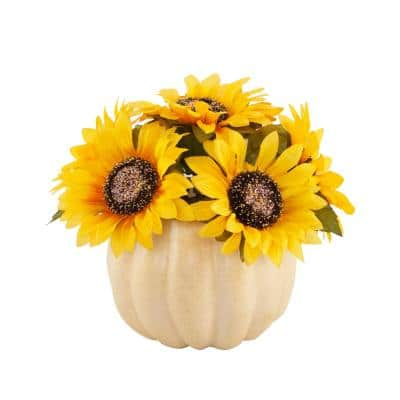 10 in. Fall Harvest Artificial Yellow Sunflowers in 7 in. Plastic Foam Pumpkin