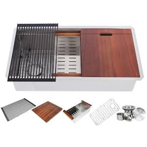 Workstation 36 in. Undermount 16 Gauge Single Bowl Stainless Steel Kitchen Sink w/ Integrated Ledge - 15mm Tight Radius