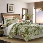 Palmiers 4-Piece Green Botanical Cotton King Comforter Set
