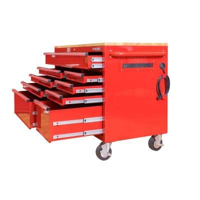 52 in. W 9-Drawer Deep Tool Chest Mobile Workbench in Gloss Red