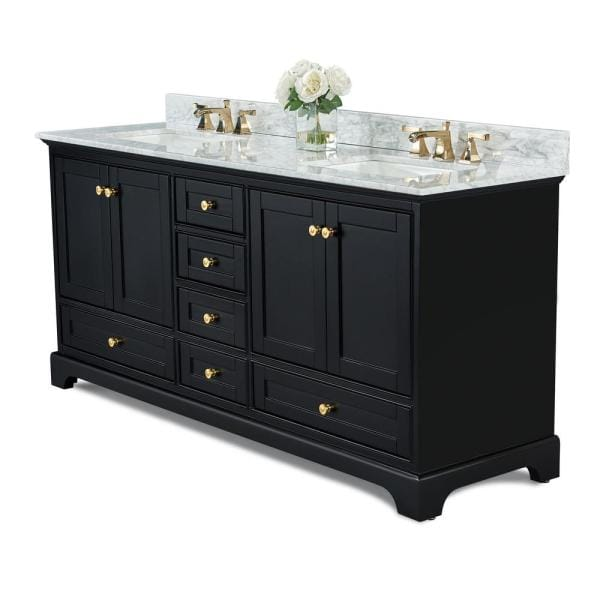 Ancerre Designs Audrey 72 In W X 22 In D Bath Vanity In Black Onyx With Marble Vanity Top In White With White Basin And Gold Hardware Vts Audrey 72 Bo Cw Gd The Home Depot