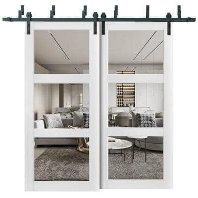 Lucia 2555 48 in. x 80 in. Full Lite Clear Glass Matte White Finished Solid Wood Sliding Barn Door with Hardware Kit