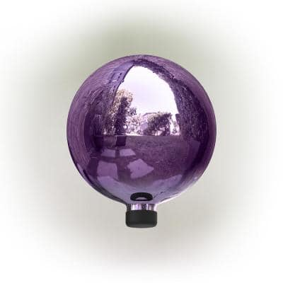 12 in. Indoor/Outdoor Glass Gazing Globe Festive Yard Decor, Purple