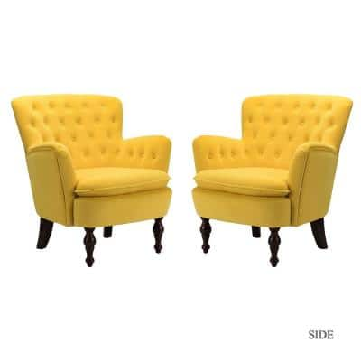 Isabella Yellow Tufted Accent Chair (Set of 2)