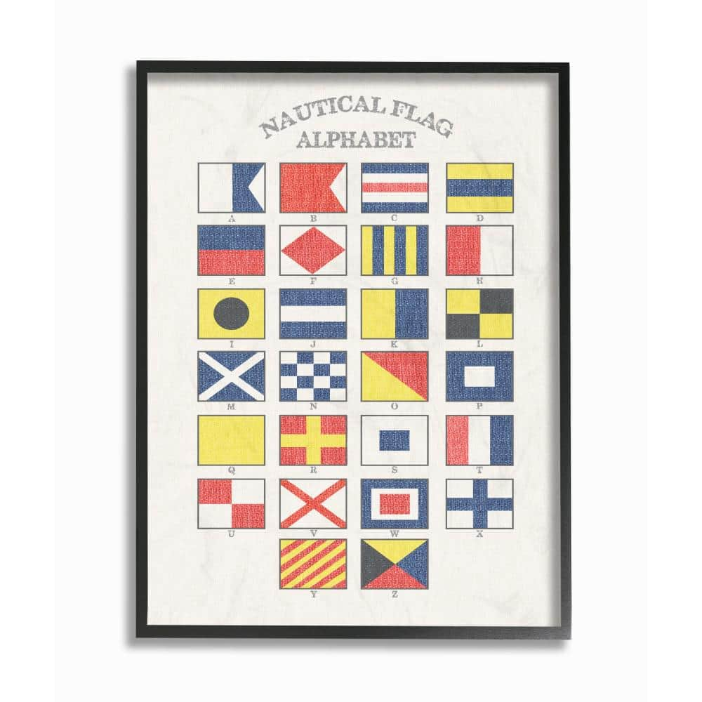 Stupell Industries 11 In X 14 In Nautical Flag Alphabet By Daphne Polselli Wood Framed Wall Art Cwp 276 Fr 11x14 The Home Depot