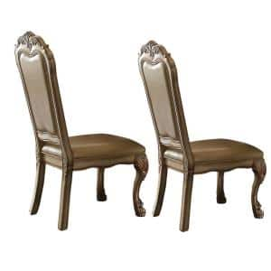 Beige and Gold Wooden Side Chair with Claw Legs and Leatherette Seat (Set of 2)