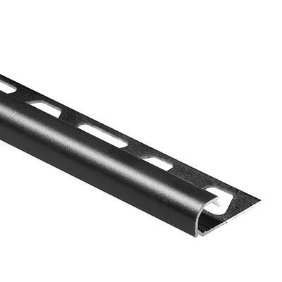 Rondec Matte Black 5/16 in. x 8 ft. 2-1/2 in. Color-Coated Aluminum Bullnose Tile Edging Trim