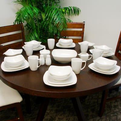 Hagen 30-Piece Casual White Porcelain Dinnerware Set (Service for 6)
