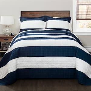 New Berlin Stripe Quilt Navy/White 2-Piece Twin Set