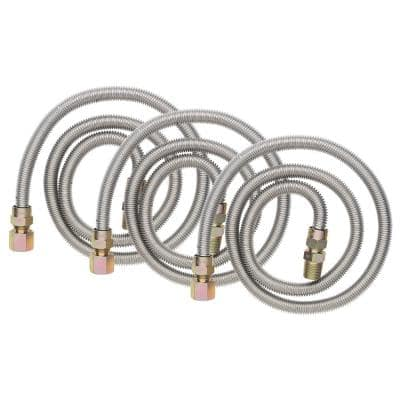 1/2 in. MIP x 1/2 in. FIP x 48 in. Stainless Steel Gas Connector (3 Pack)