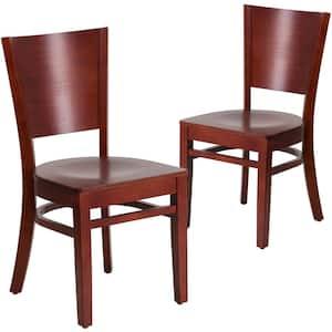 Mahogany Wood Seat/Mahogany Wood Frame Restaurant Chairs (Set of 2)