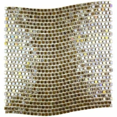 Galaxy Sun Gold Wavy Square Mosaic 0.3125 in. x 0.3125 in. Iridescent Glass Wall Pool Floor Tile (1 Sq. ft.)