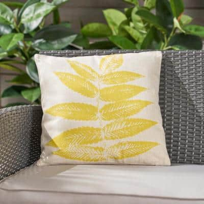 Pinnate Beige and Yellow Square Outdoor Throw Pillow