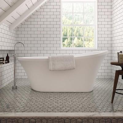 Rachel 70 in. Acrylic Slipper Flatbottom Non-Whirlpool Reversible Drain Bathtub in White