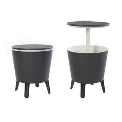 Cool Bar Gray Resin Outdoor Accent Table and Cooler in One