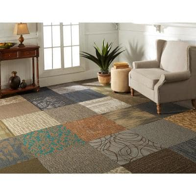 Versatile Assorted Pattern Commercial Peel and Stick 20 in. x 20 in. Carpet Tile (12 Tiles/Case)
