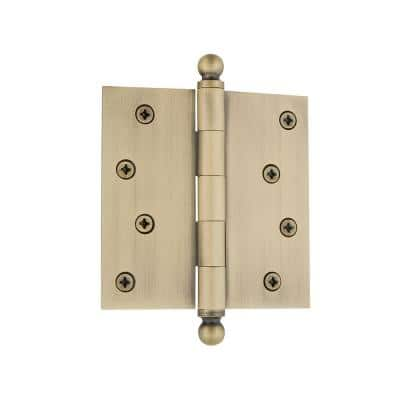 4 in. Ball Tip Residential Hinge with Square Corners in Antique Brass