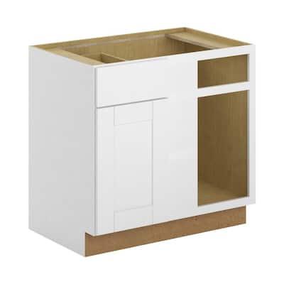 Princeton Shaker Assembled 36x34.5x24 in. Blind Corner Base Cabinet in Warm White