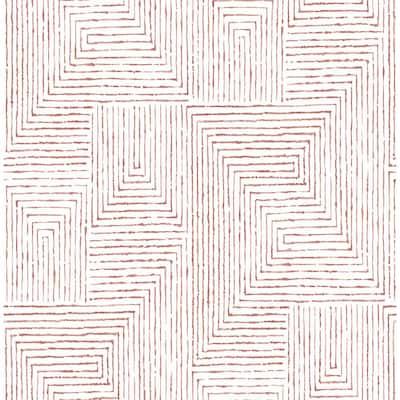 Merritt Red Geometric Red Wallpaper Sample