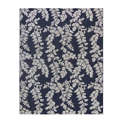 Waxham Navy/Pearl 9 ft. x 13 ft. Floral Indoor/Outdoor Area Rug