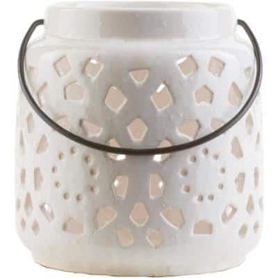 Kimba 6.5 in. White Ceramic Lantern