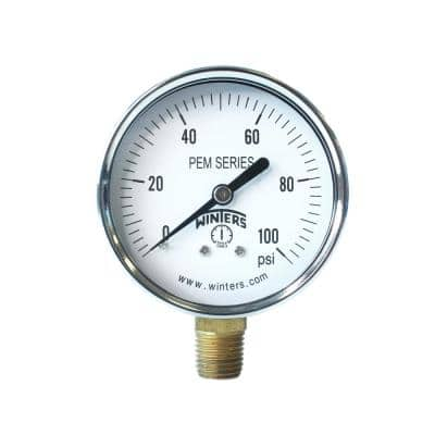PEM Series 2.5 in. Brass Pressure Gauge with 1/4 in. NPT Bottom Connection and Range of 0-100 psi